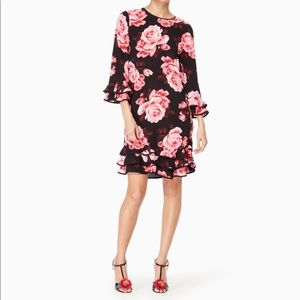 Kate Spade Rosa Ruffle rose print dress size small